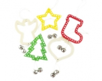 WOOD XMAS SHAPES W/BELL & HANGER 10 PC - Click for more info